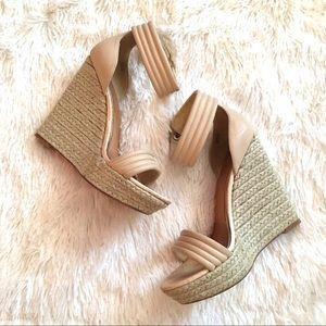 Badgley Mishka Espadrille wedge sandal tan 7.5